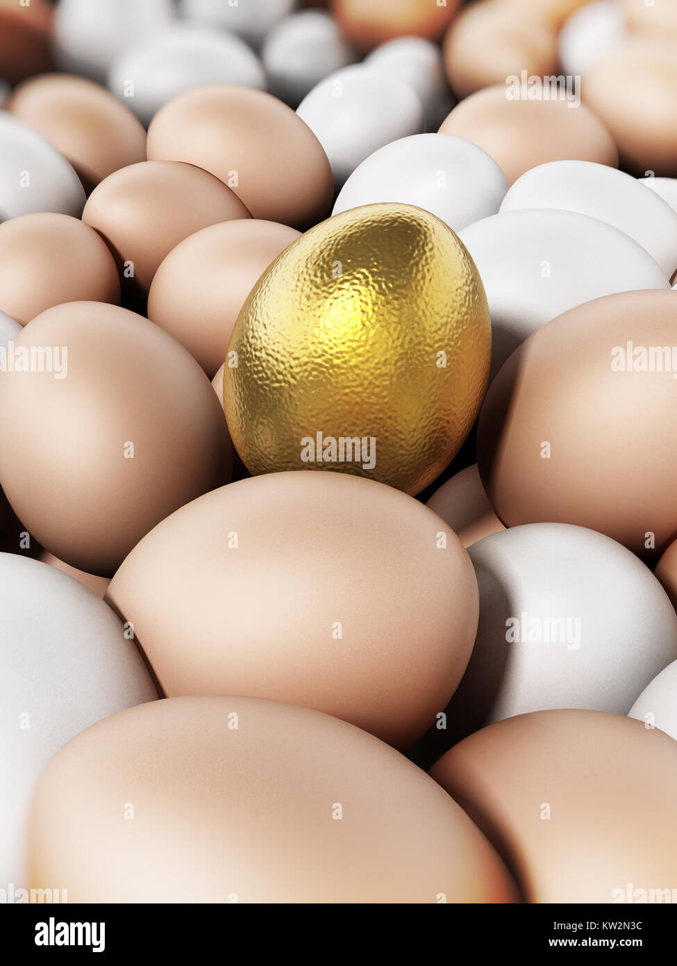 Golden egg standing out among brown and white eggs. 3D illustration. - Stock Image
