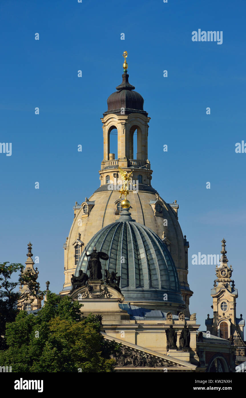 Domes of the art college and Church of Our Lady, Dresden, Kuppeln der Kunsthochschule und Frauenkirche - Stock Image