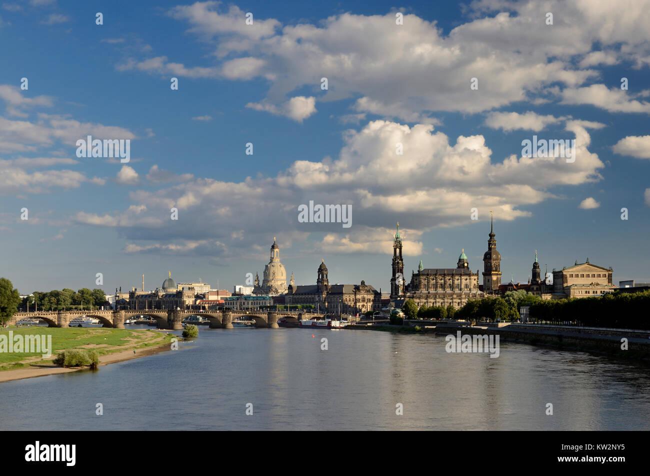 Town view of the Marien's bridge, Dresden Old Town, Stadtansicht von der Marienbruecke, Dresden Altstadt - Stock Image