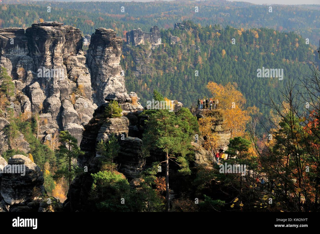 Vantage point Ferdinandsstein in the bastion massif, Elbsandsteingebirge, Aussichtspunkt Ferdinandsstein im Basteimassiv - Stock Image