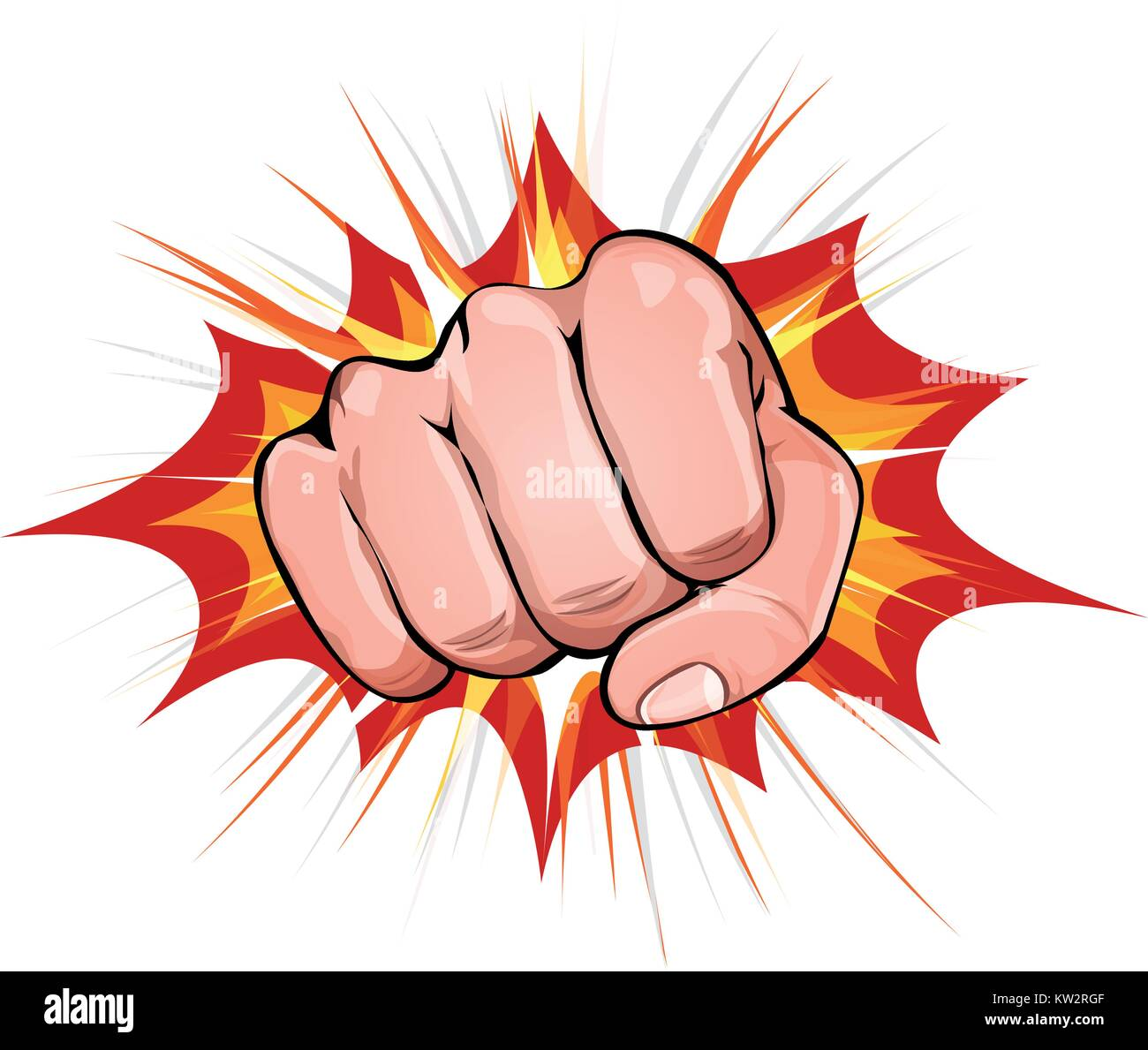 Illustration of a powerful fist punching, on explosion background - Stock Vector