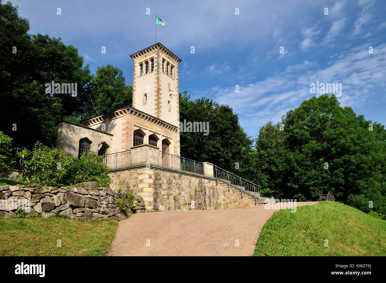 Observation tower on the castle mountain with smith's mountain, Osterzgebirge, Aussichtsturm auf dem Schlossberg - Stock Image