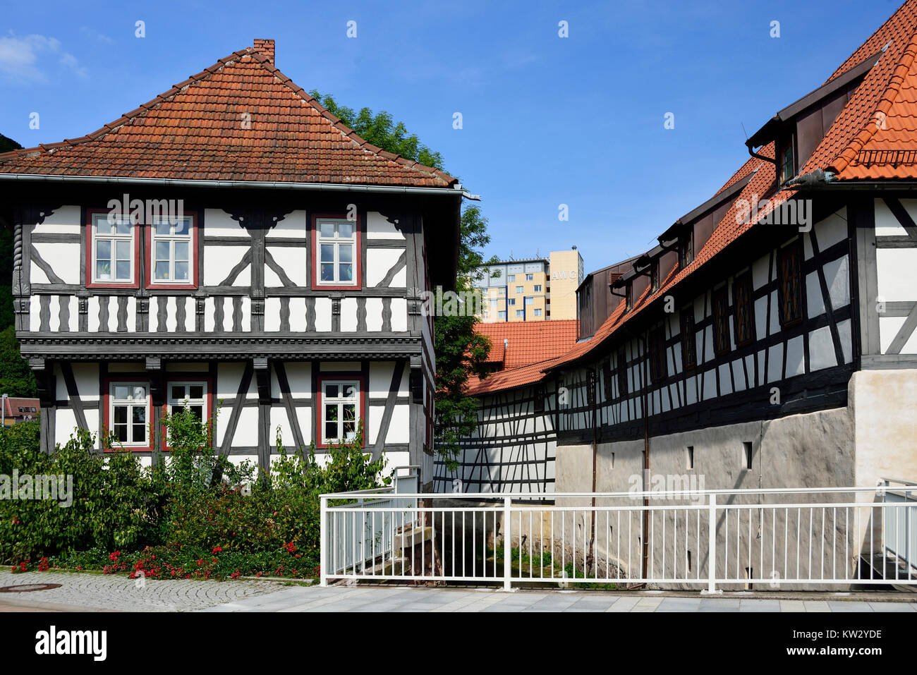 Timber-framed building Klettsches house and malt house, Thuringia, Wallowing, Fachwerkbau Klettsches Haus und Malzhaus, - Stock Image