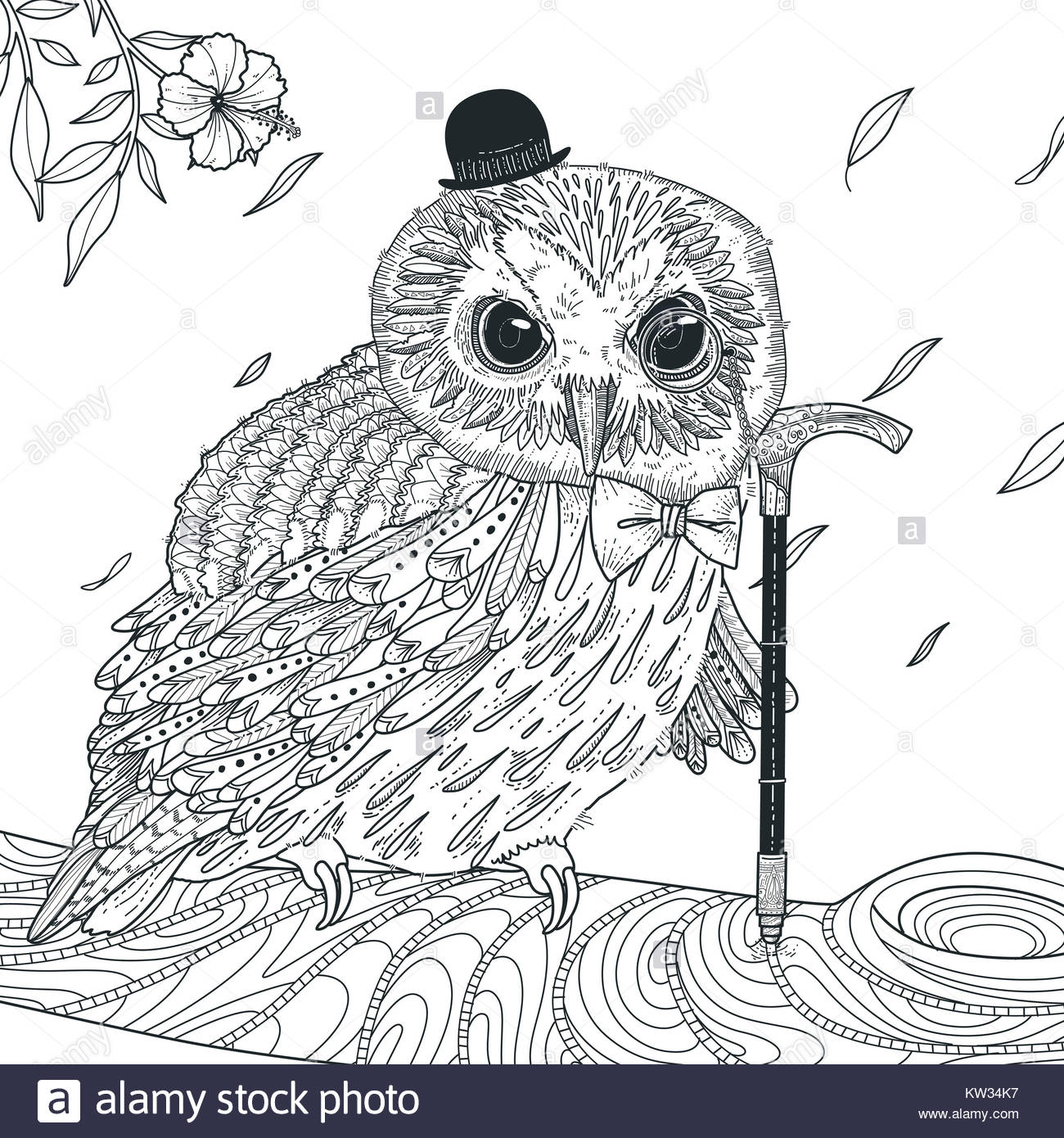 Adorable Owl Coloring Page In Exquisite Style