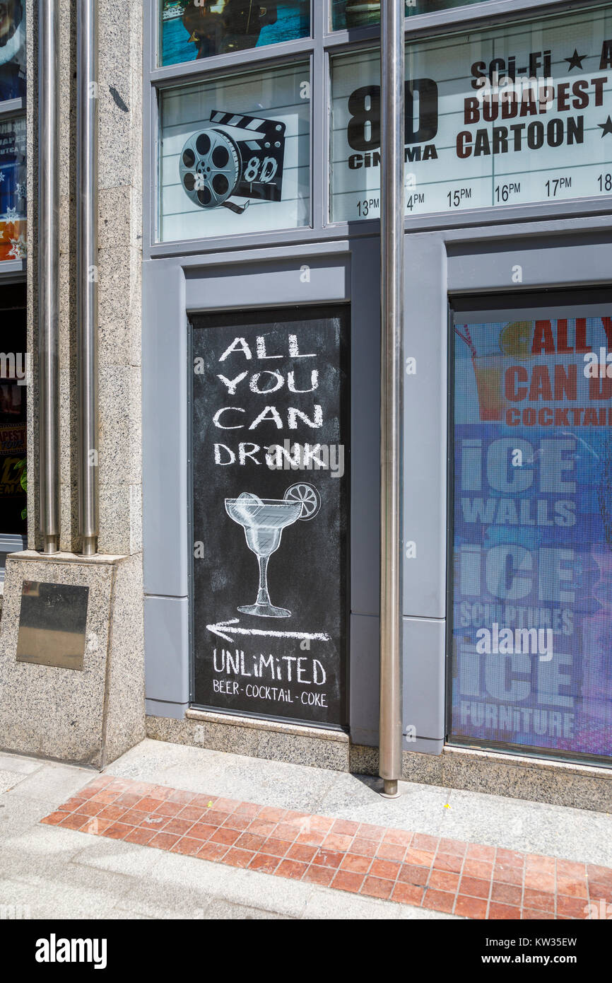 Typical 'all you can drink' blackboard sign outside a bar in Vaci ucta aimed at boozy drunken stag parties, - Stock Image