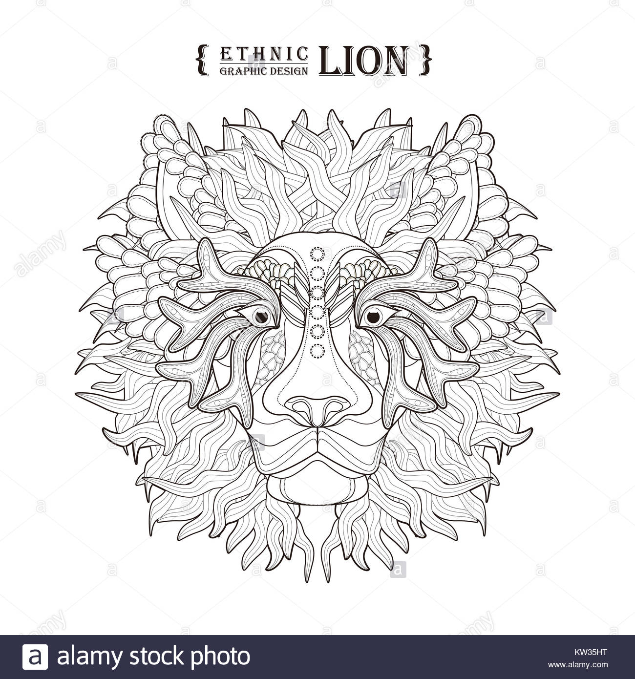 lion head coloring page in exquisite style Stock Photo: 170329988 ...