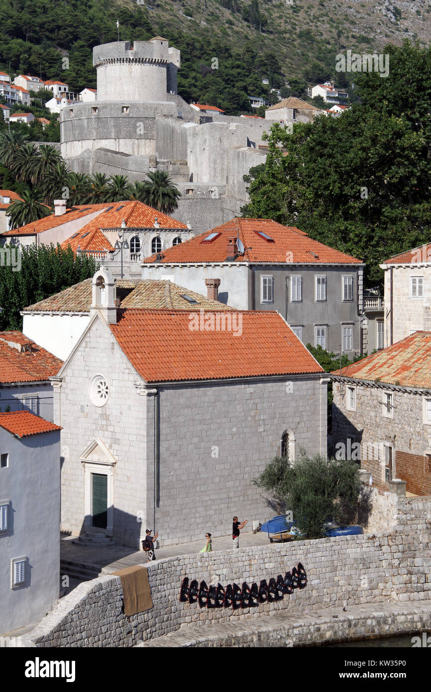 Church and tower in Dubrovnic, Croatia Stock Photo