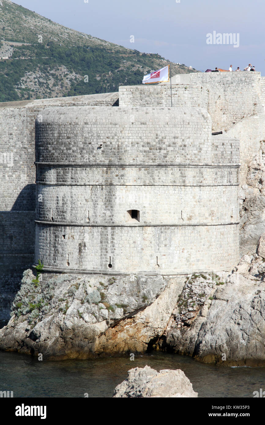 Tower of city wall of Dubrovnic, Croatia Stock Photo