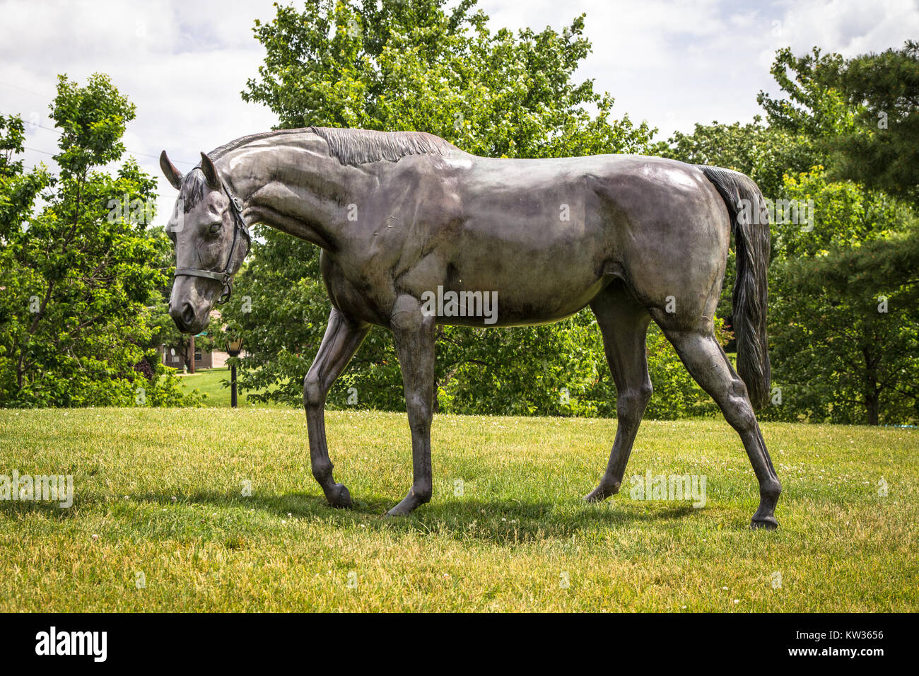 Lexington, Ky. USA. June 1, 2015. Thoroughbred Park features a dozen horse sculptures by Gweyn Reardon and is a - Stock Image