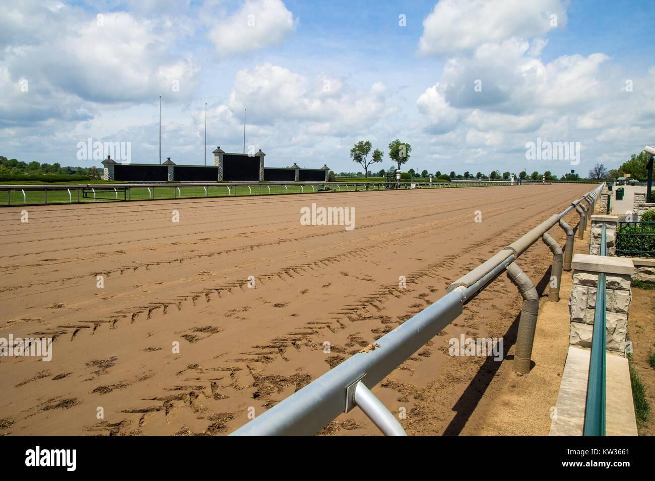 Lexington, Kentucky. USA. June 1, 2015. Keeneland racetrack in Lexington, Kentucky prepares to host the 2015 Breeders - Stock Image
