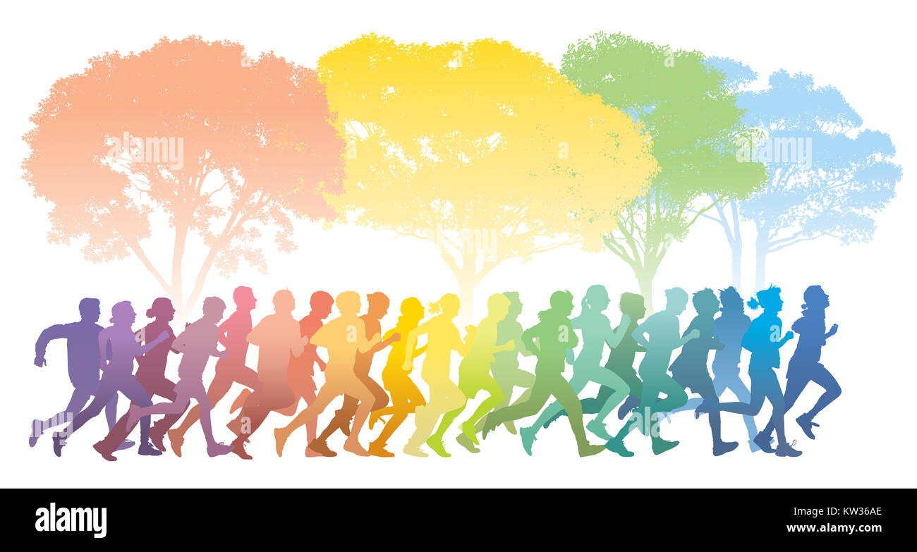 Crowd of young people running. Colorful trees in the background. Stock Photo