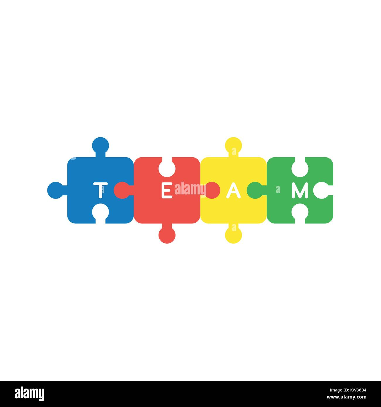 Flat Design Vector Illustration Concept Of Four Jigsaw Puzzle Pieces Symbol Icon Connected And Team Word Written On White Background