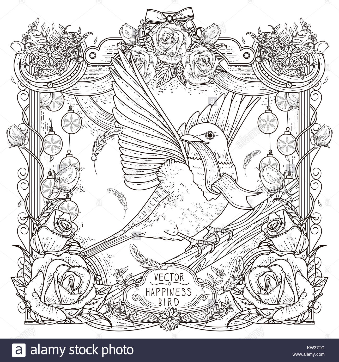 Cheerful Bird Coloring Page Design In Exquisite Style