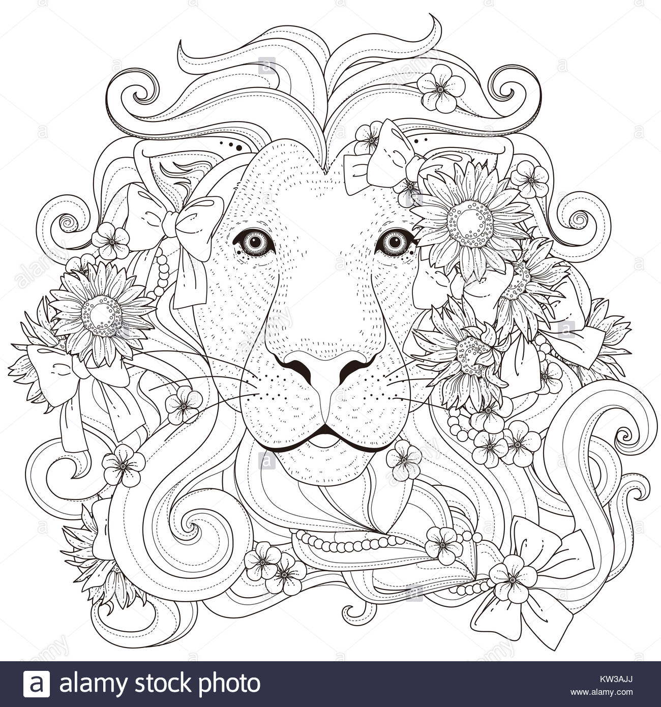 lovely lion with flowers coloring page in exquisite style Stock ...