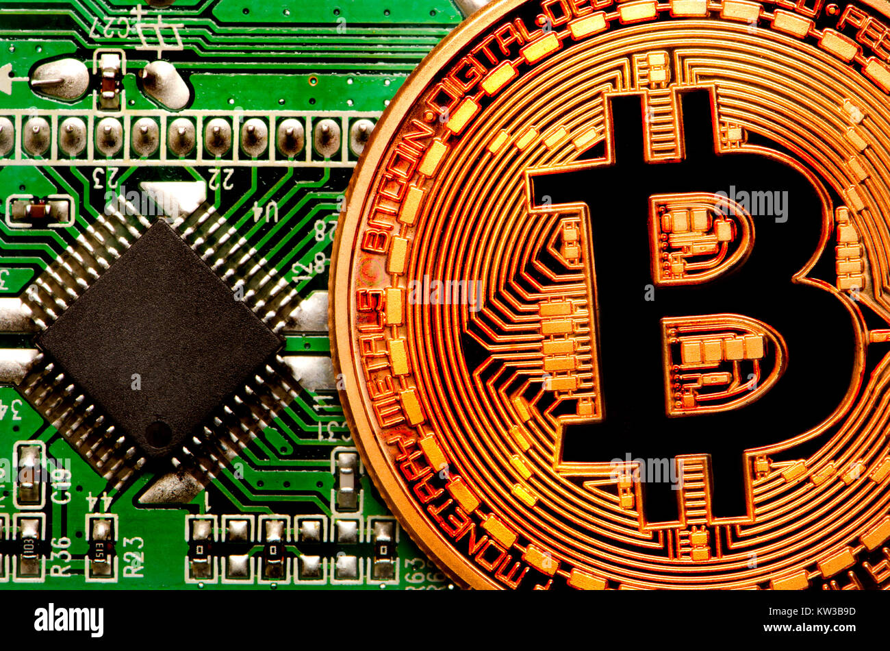 Electronic Board Technology Stock Photos Glass On The Schematic Diagramideal Background Bitcoin Cryptocurrency Payment System Copper Commemorative Round 999 Bullion Currency
