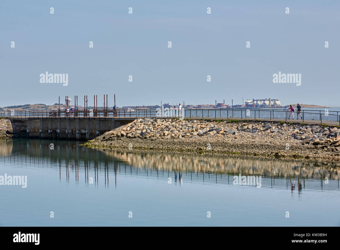 Pleasure Bay sluice, Castle Island, South Boston, Massachusetts, USA - Stock Image