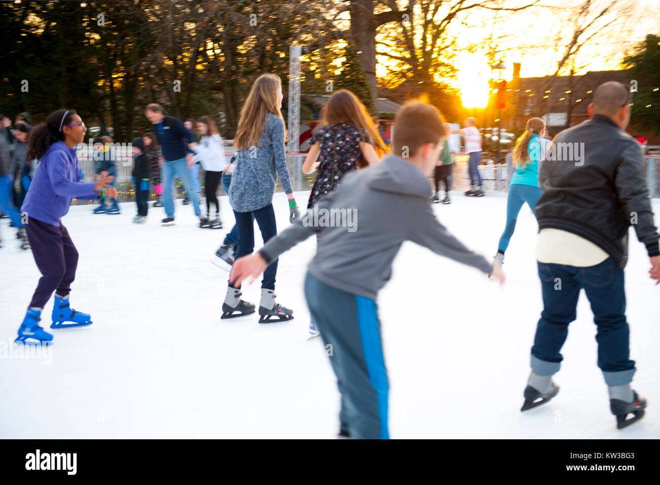 USA Virginia VA Colonial Williamsburg Christmas Winter Holidays Ice Skating on the Duke of Gloucester Street on - Stock Image
