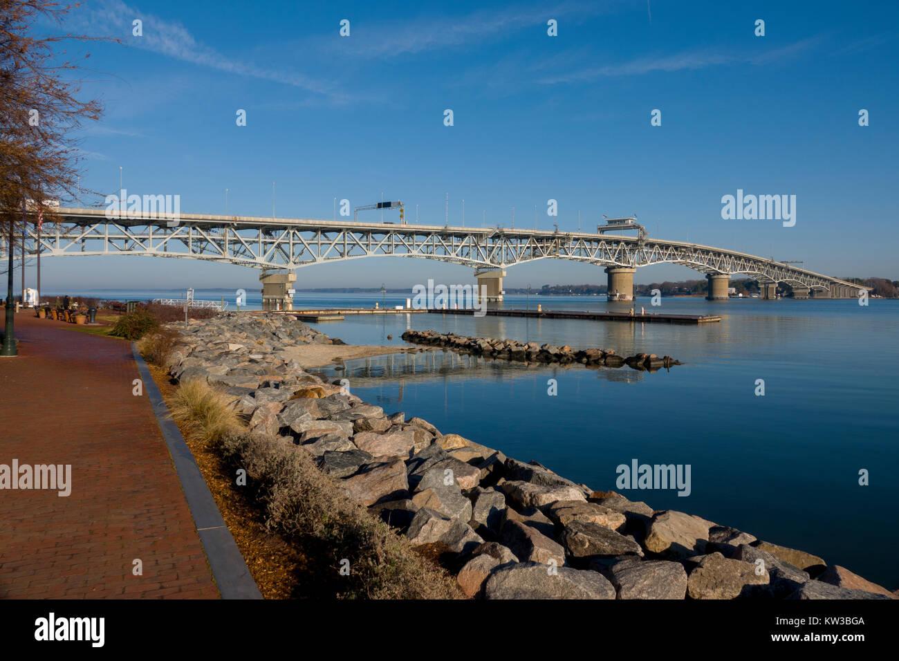 USA Virginia VA Yorktown York River the George P Coleman Memorial Bridge double swing bridge bascule type at Gloucester - Stock Image