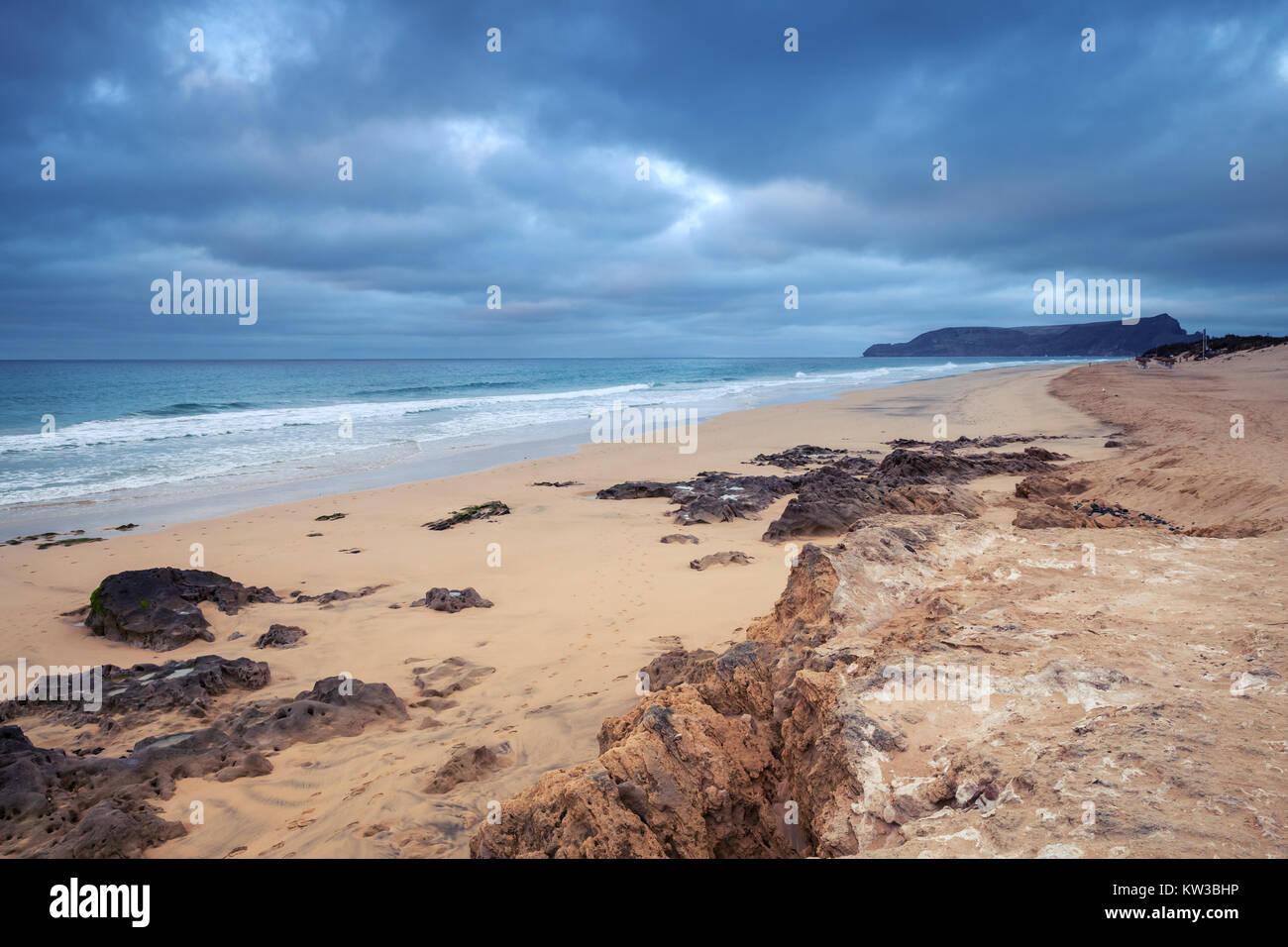 Sandstone rocks on the beach of Porto Santo island in the Madeira archipelago, Portugal - Stock Image