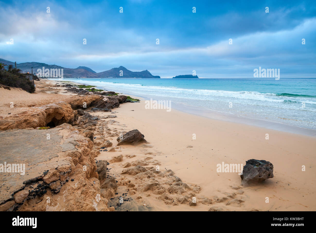 Sandstone rocks on the beach of Porto Santo island, Madeira archipelago, Portugal Stock Photo