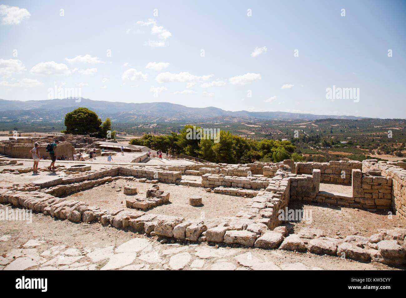 The upper court, Festos, archeological area, Crete island, Greece, Europe Stock Photo