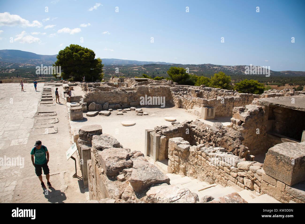 Central courtyard and area, Festos, archeological area, Crete island, Greece, Europe Stock Photo