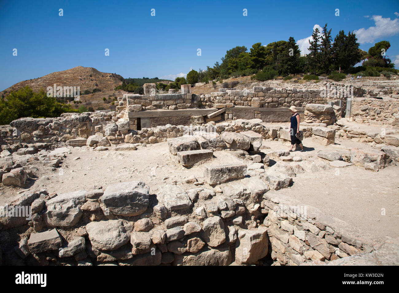 The west wing, Festos, archeological area, Crete island, Greece, Europe Stock Photo