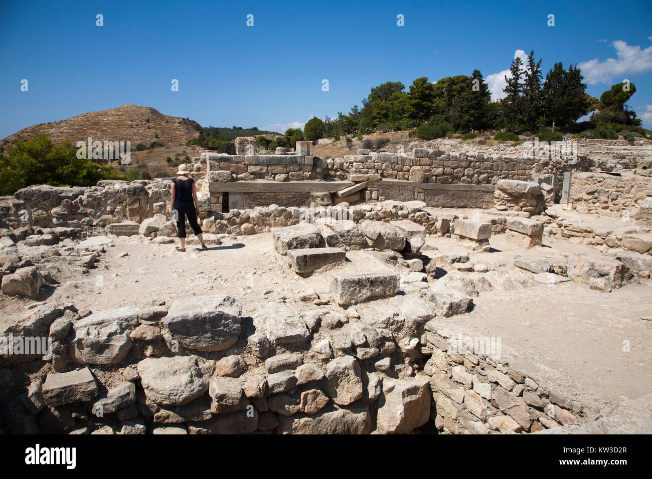 The west wing, Festos, archeological area, Crete island, Greece, Europe Stock Photo