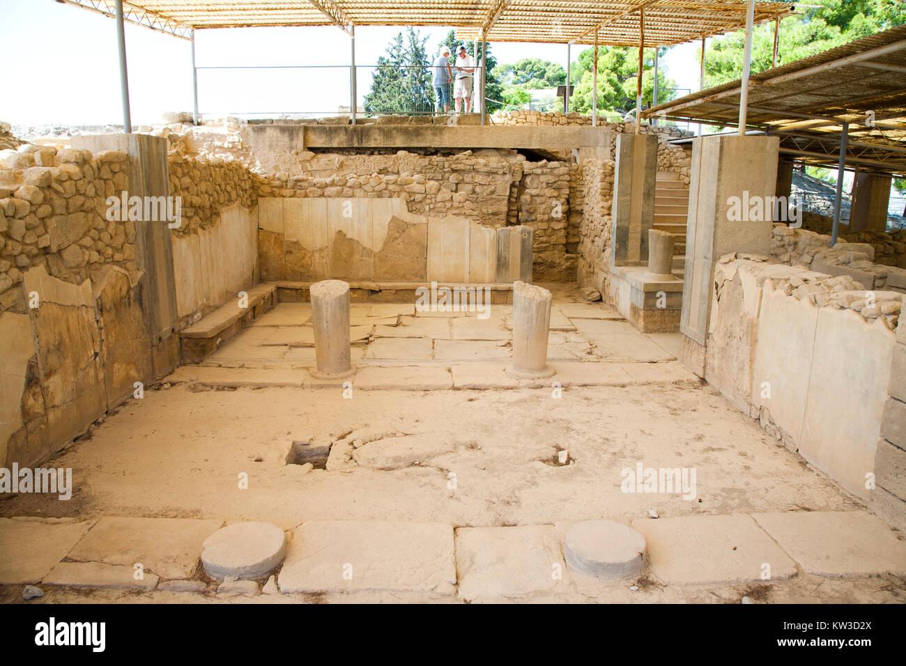 The queen megaron, royal apartments, Festos, archeological area, Crete island, Greece, Europe Stock Photo