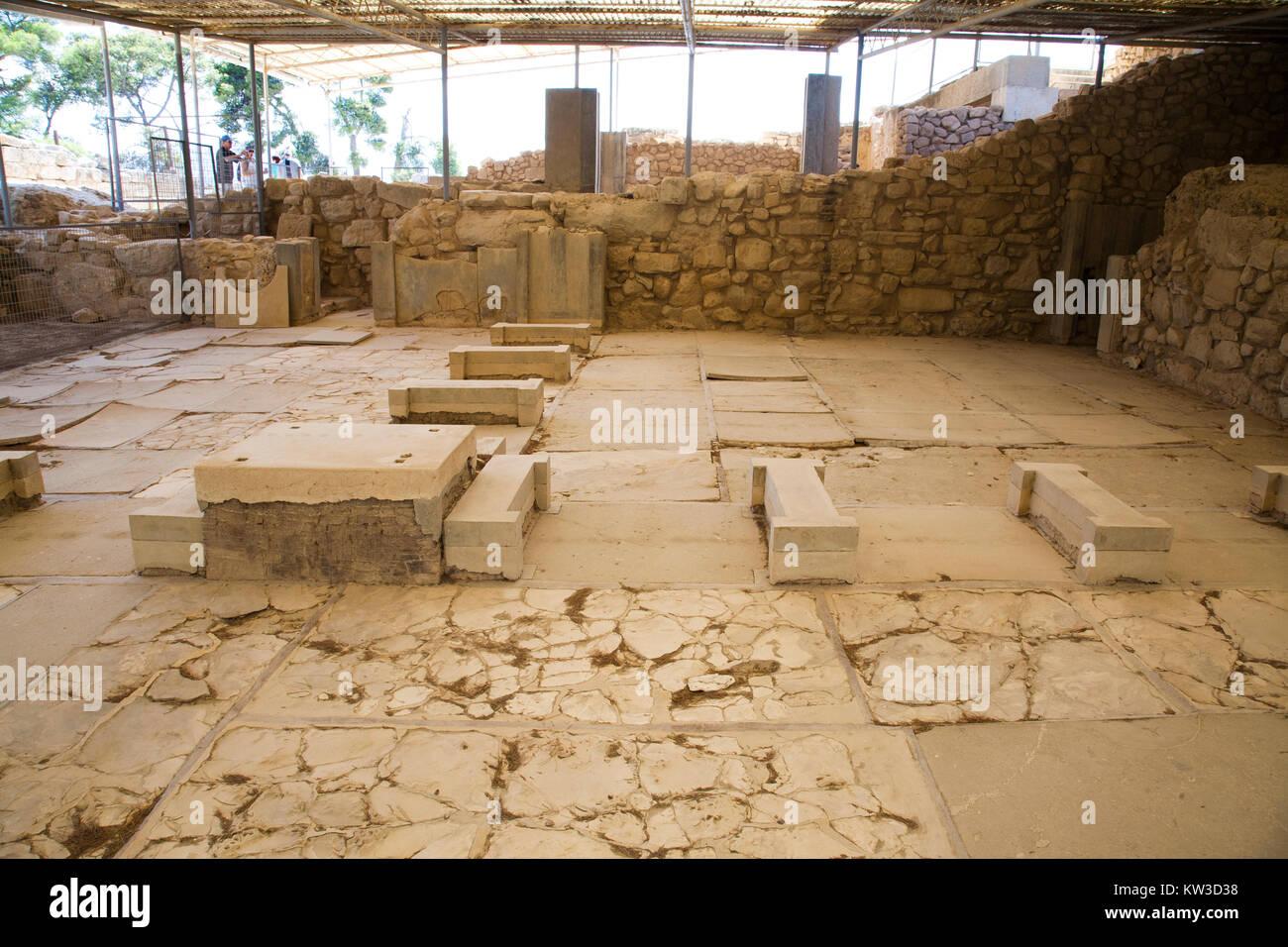 The king megaron, royal apartments, Festos, archeological area, Crete island, Greece, Europe Stock Photo