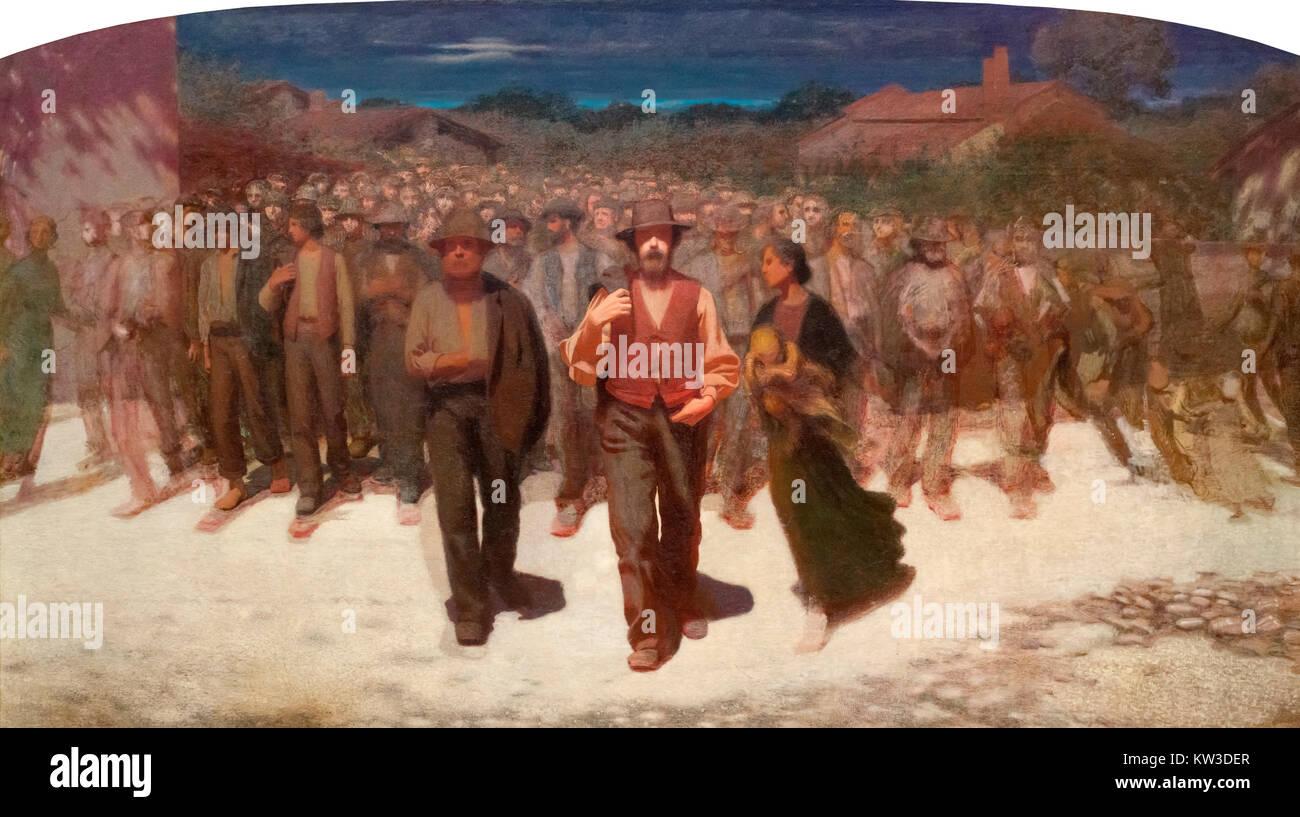 Human Flood by Pellizza da Volpedo (Giuseppe Pellizza: 1868-1907), oil on canvas, 1895-6 - Stock Image