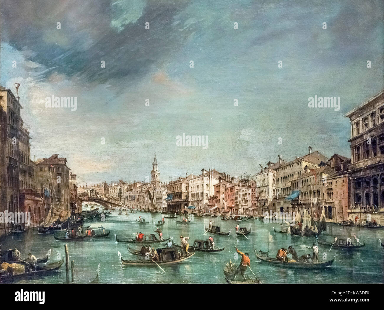 View of the Grand Canal Looking toward Rialto with Palazzo Grimani and Palazzo Marin by Francesco Guardi (1712-1793), - Stock Image