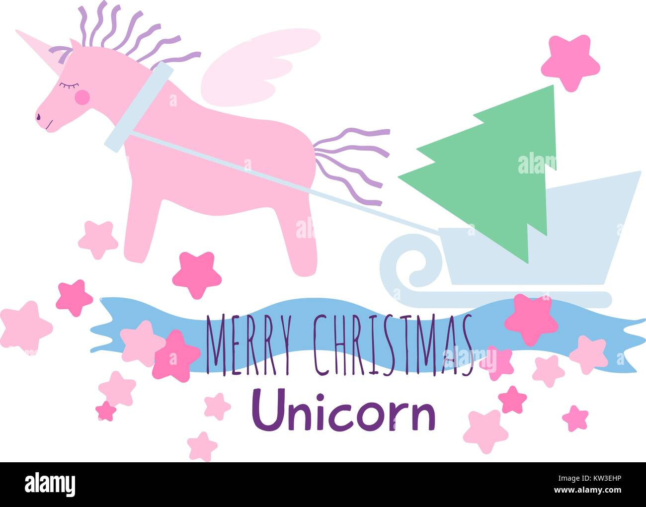 Pink winged unicorn horse with violet mane and tail pulls a sleigh with a Christmas tree. Holiday greeting card. - Stock Vector