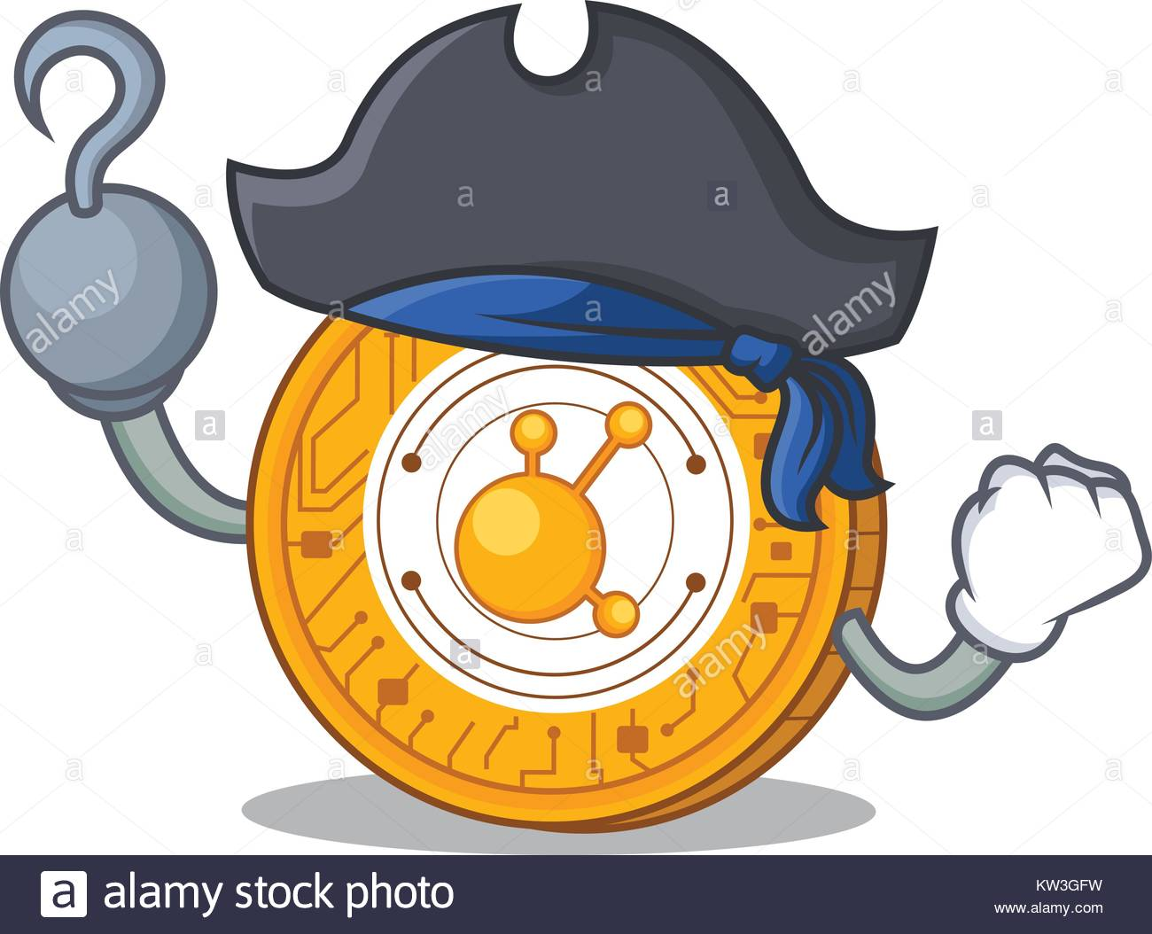 Pirate BitConnect coin character cartoon - Stock Image
