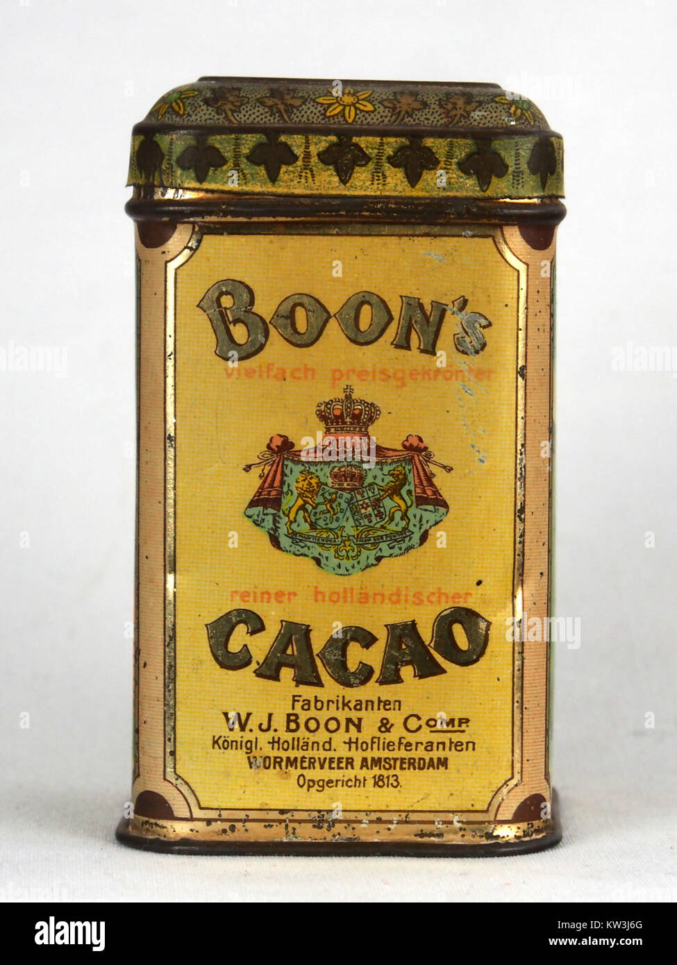 Boons cacao blikje voor export naar Duitsland, foto1 - Stock Image