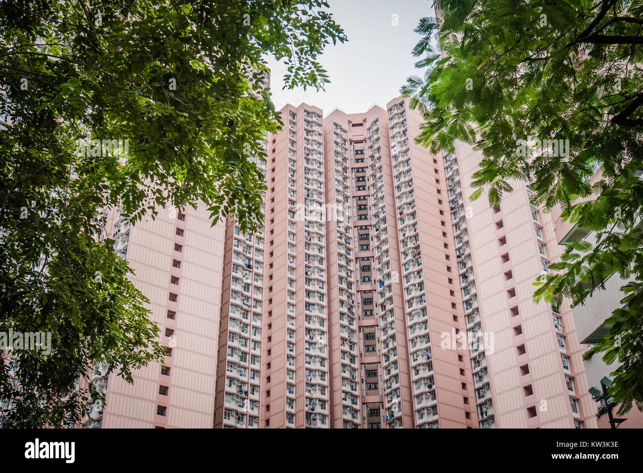 hong kong public housing apartments - Stock Image