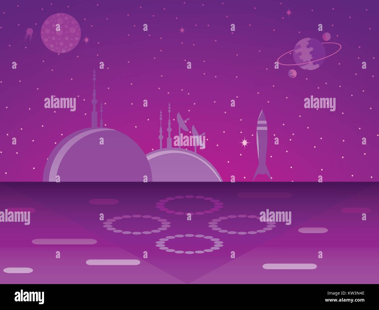 Space base on the planet. Colonization. Futurism. Vector illustration - Stock Vector