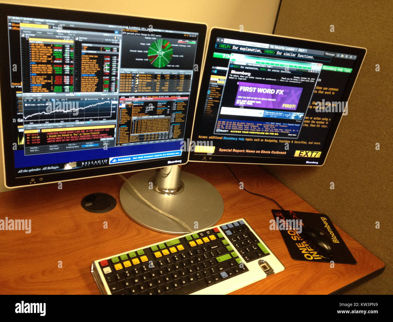 Bloomberg Terminal And Keyboard   Stock Image