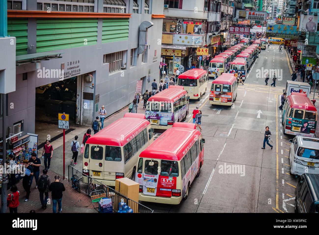 hong kong minibus lineup - Stock Image