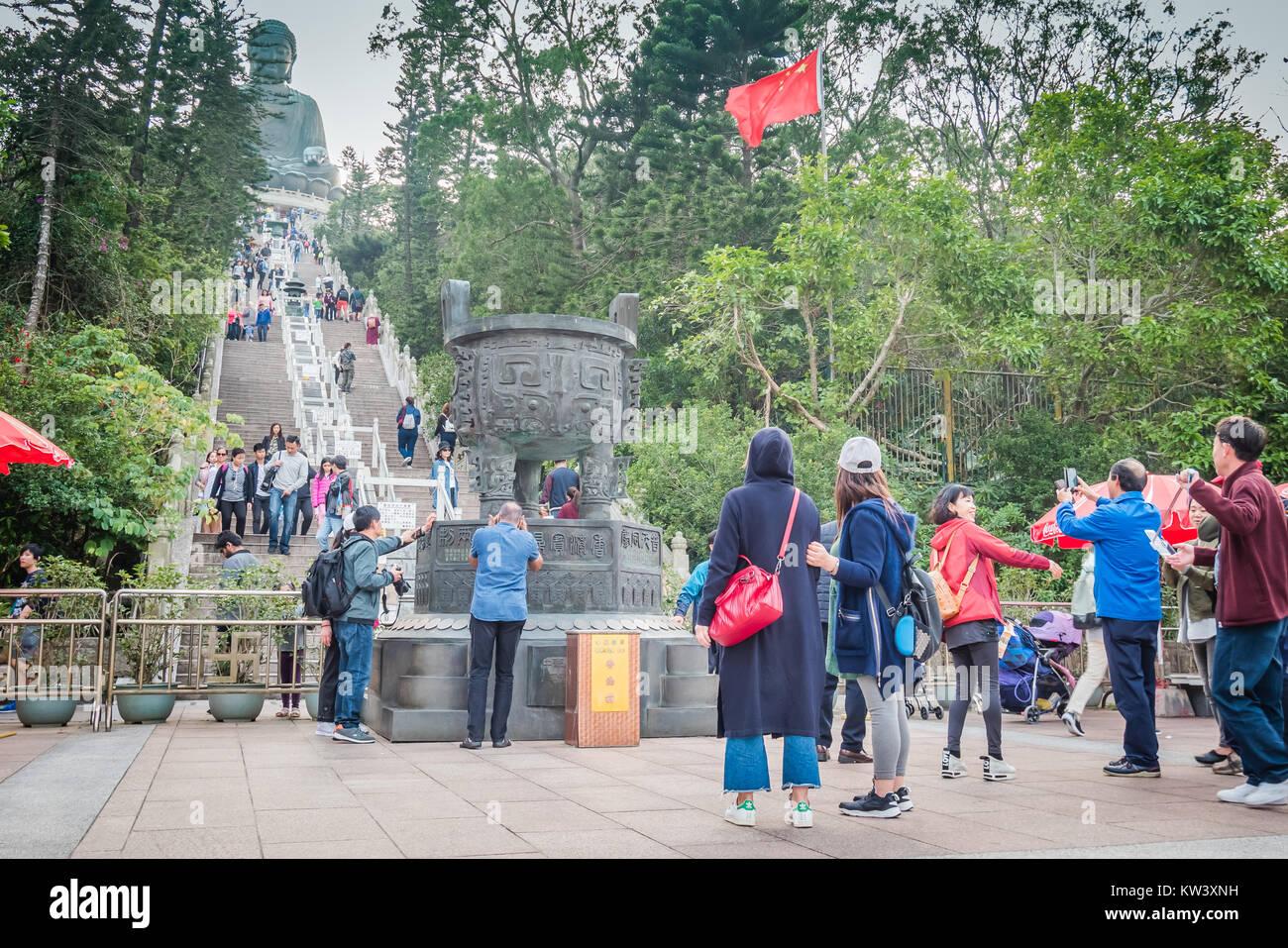 hong kong big buddha in lantau island near ngoing ping - Stock Image