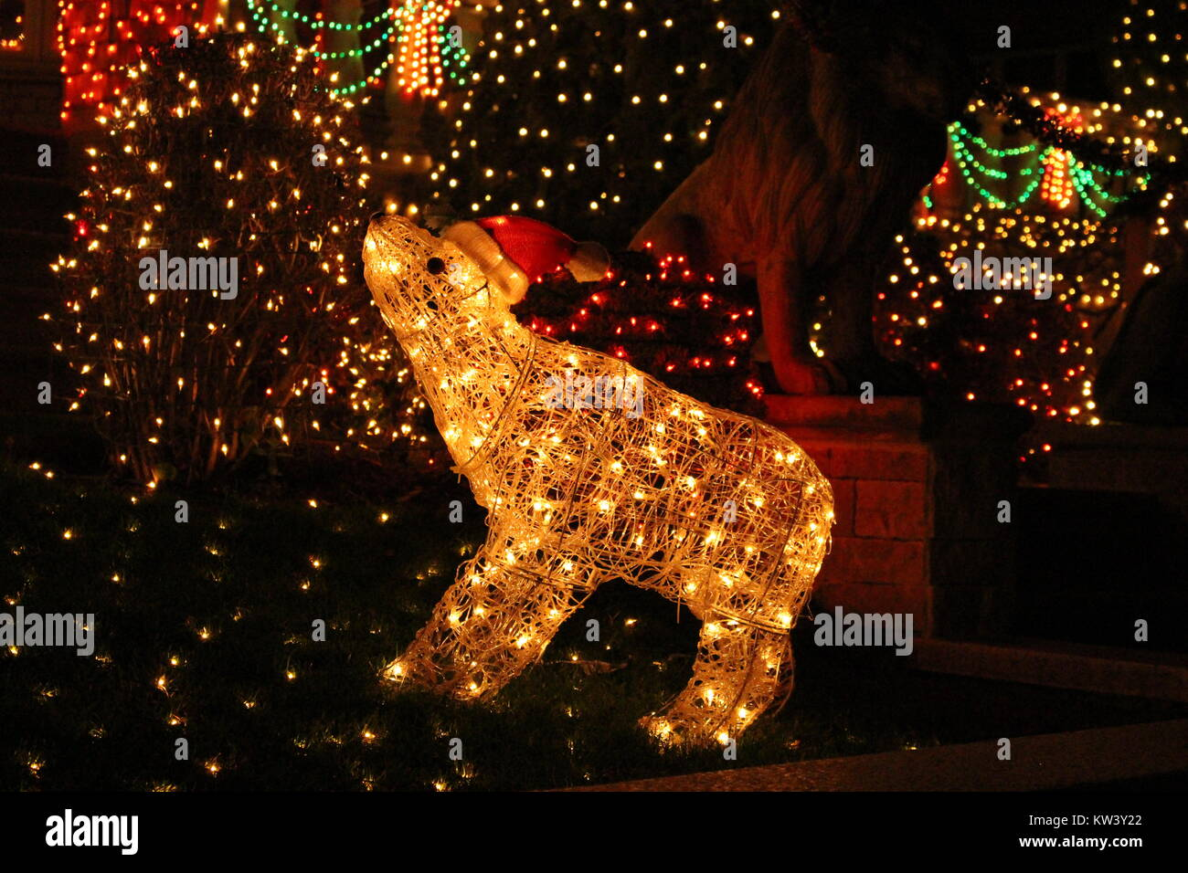 light up polar bear decoration in dyker heights brooklyn stock image