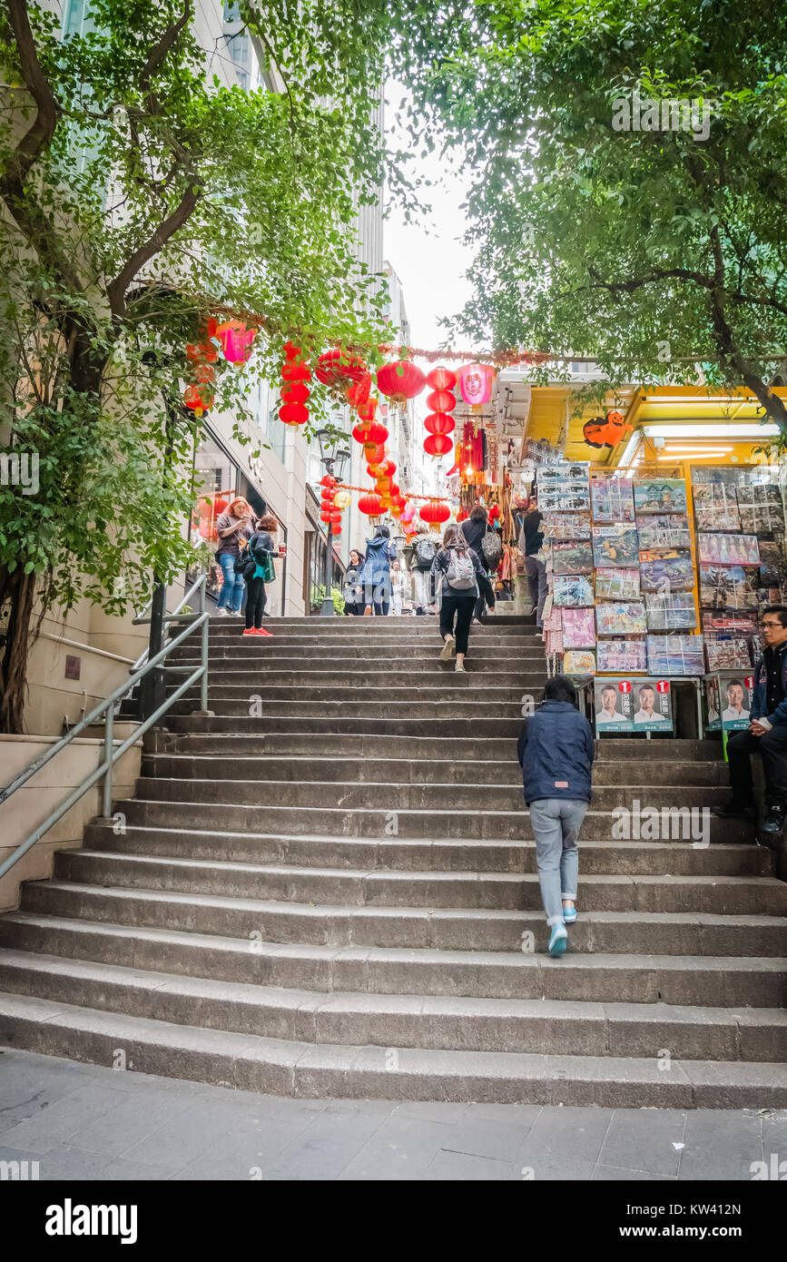 hong kong pottinger street also known as granite stone steps - Stock Image