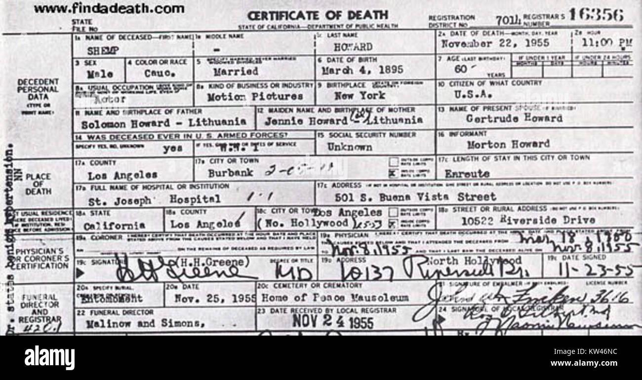 Certificate Of Death Stock Photos Certificate Of Death Stock