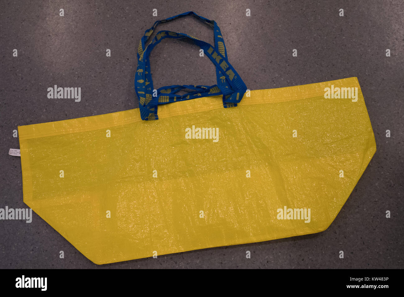 yellow ikea reusable shopping bag - Stock Image