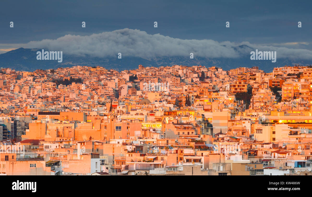 View of Athens from Areopagus hill at sunset, Greece. - Stock Image