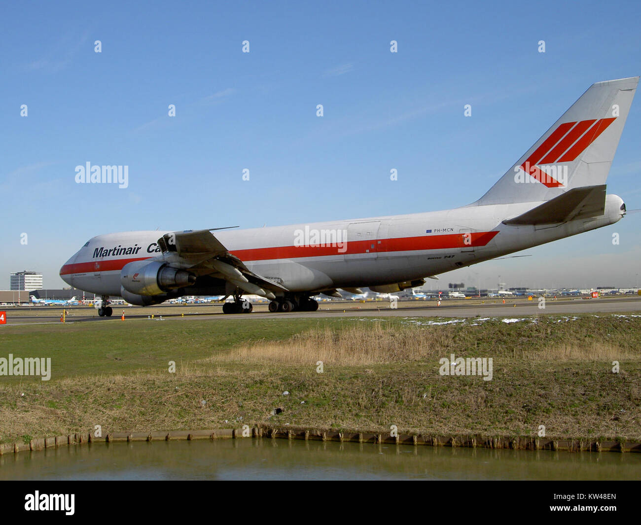 Boeing 747 Martinair Cargo PH MCN at Schiphol pic2 - Stock Image