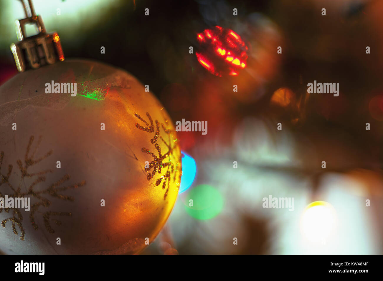 Closeup View Of Colorful Parts Of Christmas Tree With Ornaments And