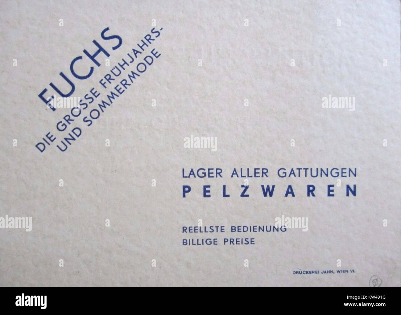Pelzhaus Hugo Rosenberg Wien Vi Visitenkarte 3 Stock