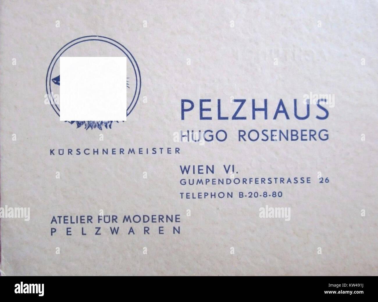 Pelzhaus Hugo Rosenberg Wien Vi Visitenkarte 01 Stock