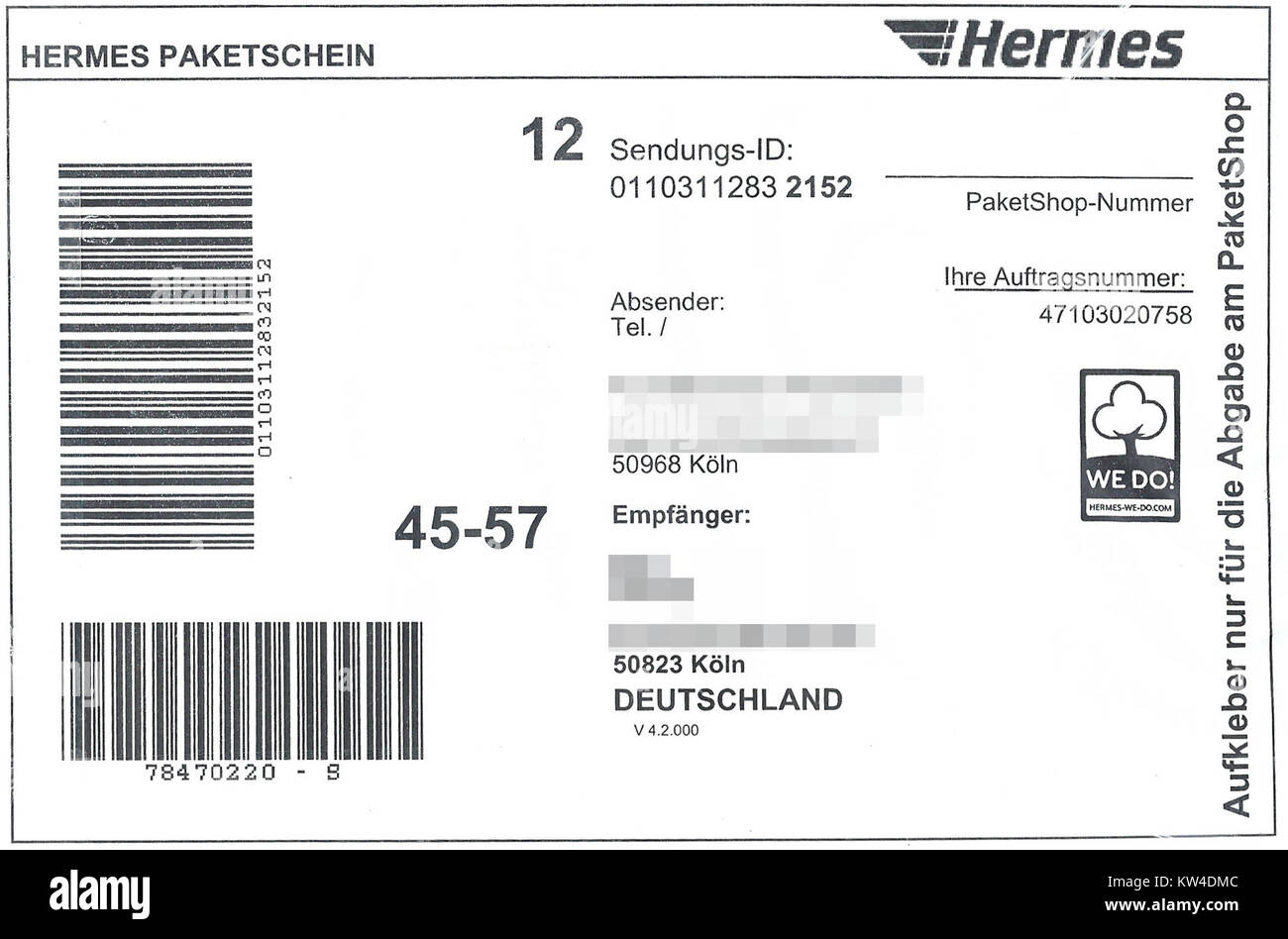 Paketaufkleber Hermes Paket Via Paketshop 2017 Stock Photo